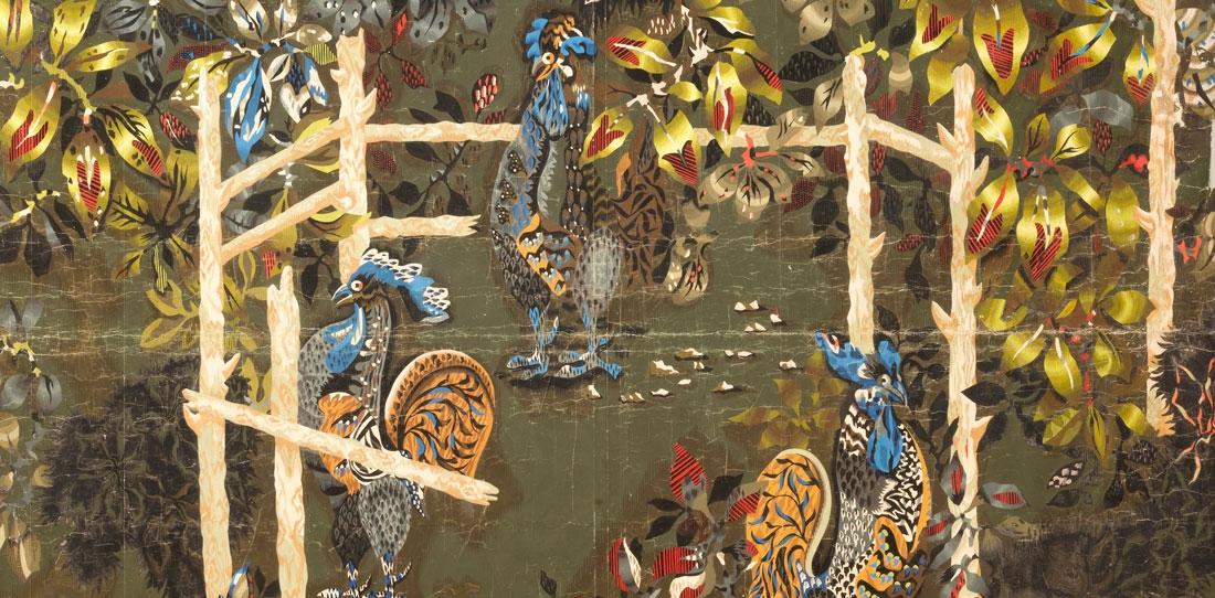Jardins des coqs, carton gouaché de Jean Lurçat, 1939. Coll. Cité internationale de la tapisserie