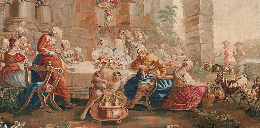 Les noces de Daphnis et Chloé, détail, Ateliers d'Aubusson, Manufacture Roby, XVIIIe siècle