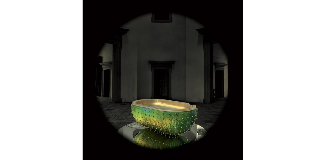 Le Bain, de Christophe Marchalot et Félicia Fortuna, Mention spéciale du jury 2012, vue d'artiste pour un projet de baignoire tapissée (maquette)