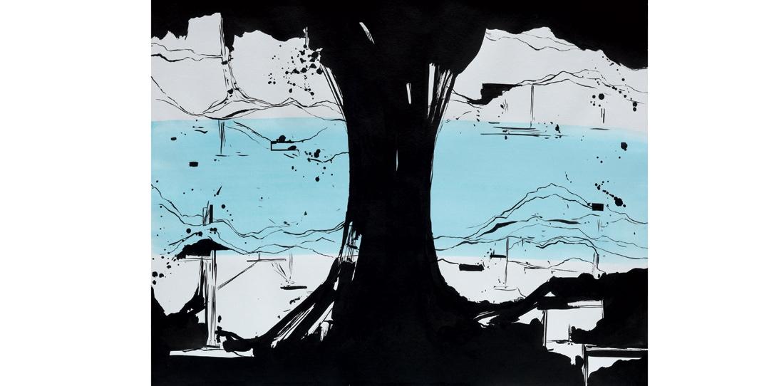 Maquette de tapisserie, La Rivière au bord de l'eau, encre de Chine et gouache sur papier, Olivier Nottellet, 2010