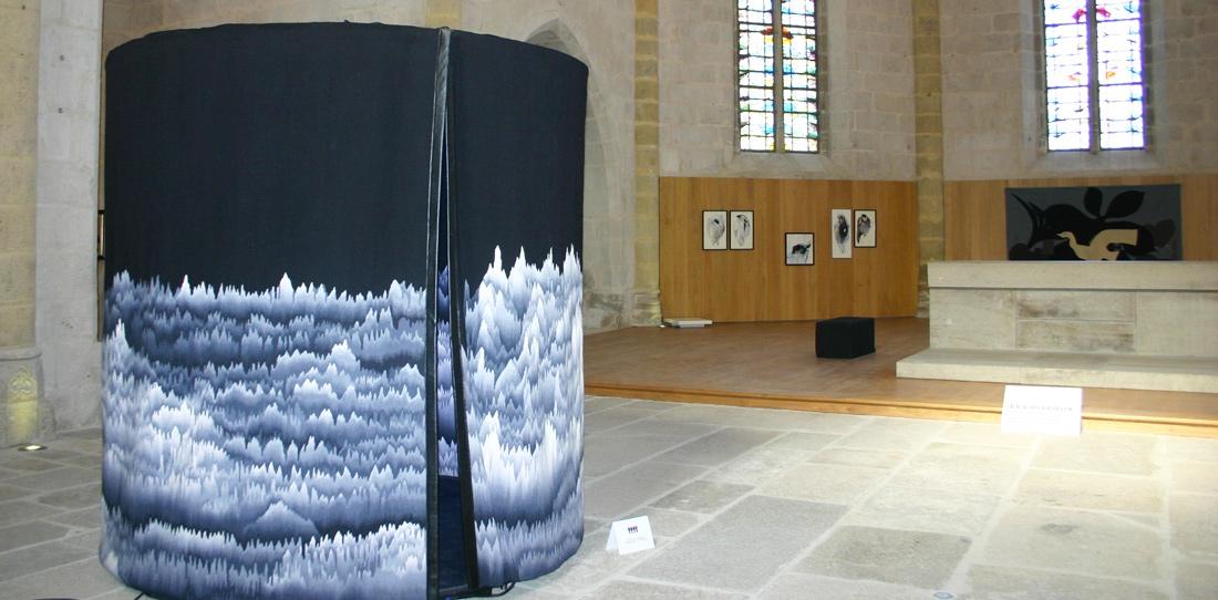 Panoramique polyphonique, d'après Cécile Le Talec, Grand Prix 2011 de la Cité internationale de la tapisserie, exposition d'été de l'Église du Château de Felletin, 2014
