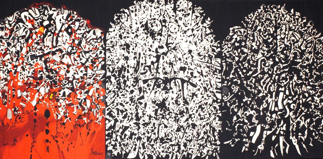 Les 3 P (détail), triptyque, par Mario Prassinos, tissage Atelier Goubely, 1970