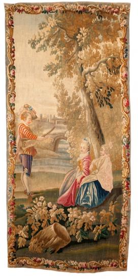 Deux jeunes filles écoutant un musicien, piece of a tenture by Watteau, low-warp tapestry, XVIIIth century