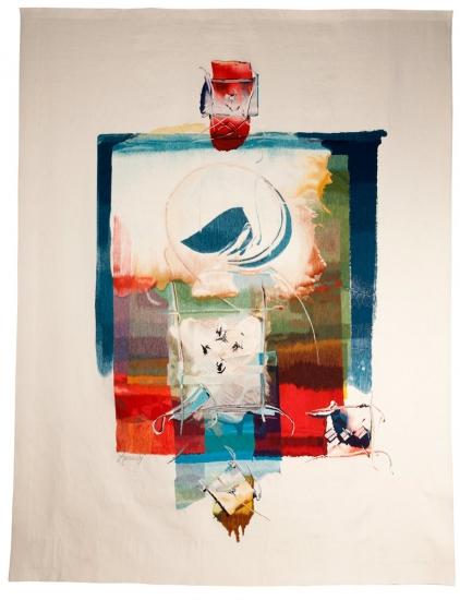 Sans titre (femme devant une ville), Philippe Amrouche, woven by Courant d'art workshop, 2005
