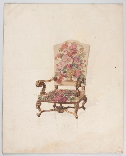 Modèle de fauteuil, Ateliers Pinton, XIXe siècle. Gouache sur papier