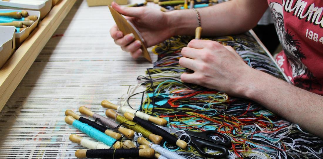 Tapis-Porte : weaving in progress at Catherine Bernet's workshop, 2015
