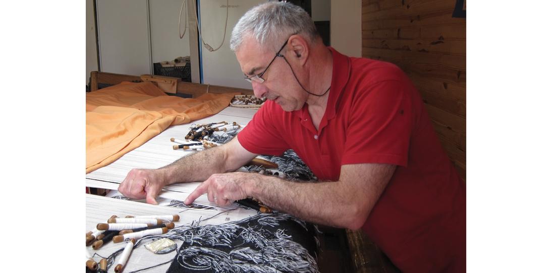 Tissage de Peau de licorne, atelier Patrick Guillot, 2011