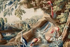 Verdure fine aux armes du comte de Brühl (détail), tapisserie de basse lisse, XVIIIe siècle, atelier De Landriève, Manufacture royale d'Aubusson.
