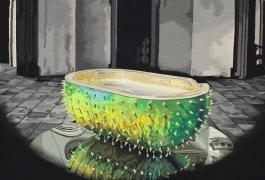 Le Bain (détail), de Christophe Marchalot et Félicia Fortuna, Mention spéciale du jury 2012, tissage Atelier Catherine Bernet pour le compte d'un collectionneur, 2014