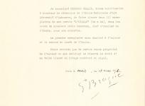 L'autorisation de tissage accordée par Georges Braque à l'École nationale d'Arts Décoratifs d'Aubusson, pour la réalisation de la tapisserie